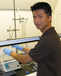 James Su in Professor Healy's lab in Stanley Hall.