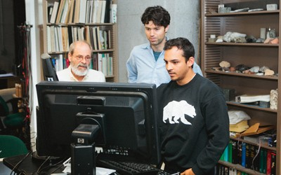 Steven Glaser, Gregory McLaskey and Paul Selvadurai in the Glaser lab. PRESTON DAVIS PHOTO