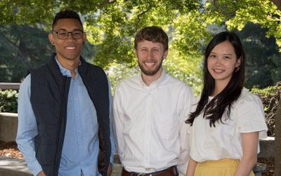 Graduation speakers Andrew-Ian Gonzales Bullitt, Joseph Andrew Charbonnet and Tsai Chu Yeh.