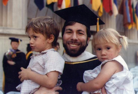 Wozniak with his children at his 1986 UC Berkeley graduation.