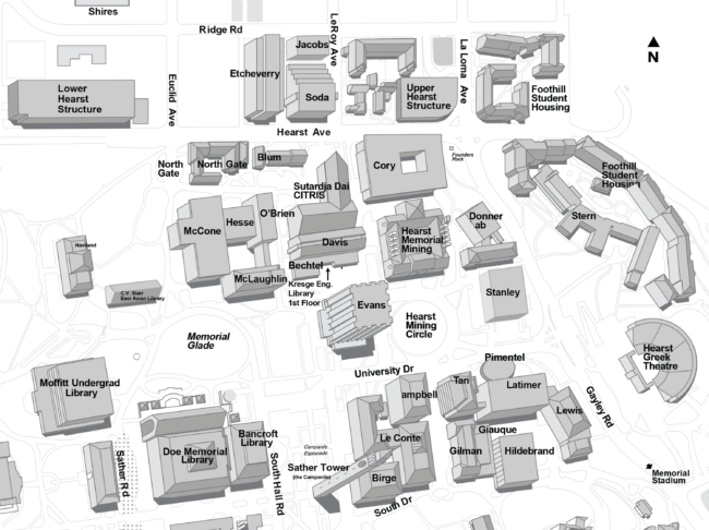 Map of engineering (northeast) quadrant of UC Berkeley campus