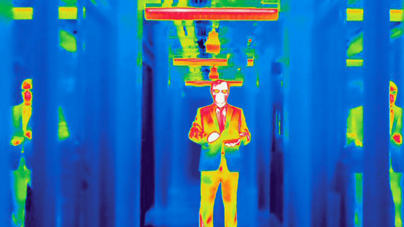Materials science and engineering professor Junqiao Wu, photographed with a thermographic camera in Hearst Memorial Mining Building