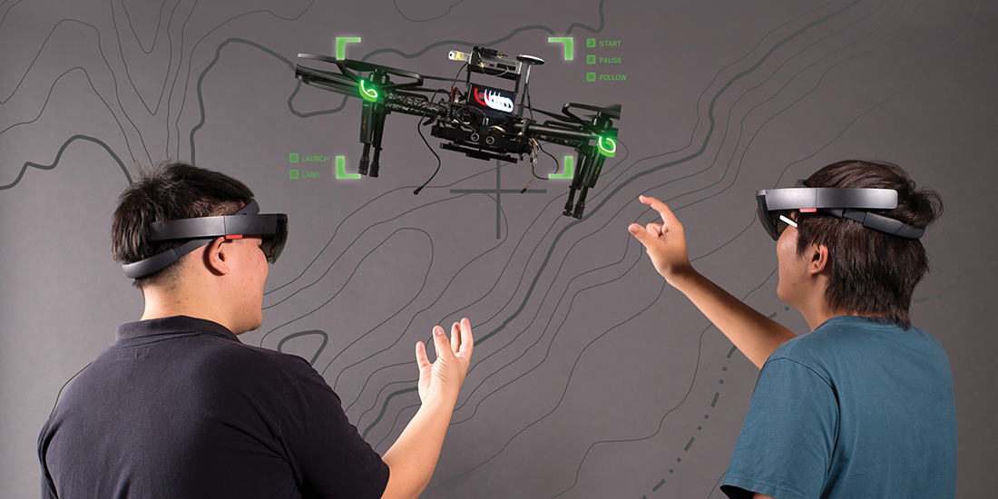 Drone guidance assisted by augmented reality