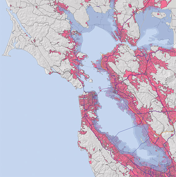Map of Bay Area inundation projections