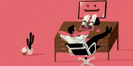 Cartoon of worker relaxing at desk while computer does work.