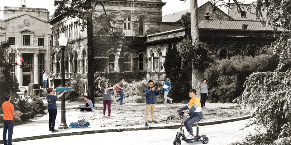 Mashup of historic photo of college buildings with curent photos of engineering students