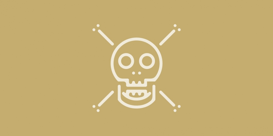 Warning flag with skull and crossbones