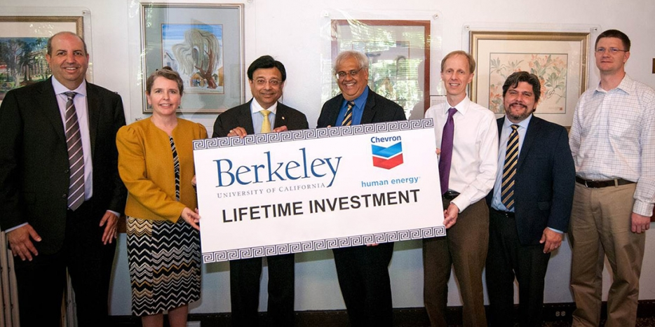 Chevron and Berkeley Engineering officials with a large symbolic support check